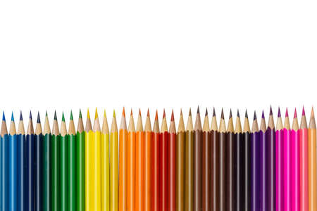 a lot of colored pencils on a white background Stock Photo