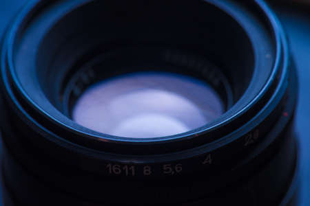 closeup of photo camera lens background. macro photo