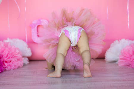 a little girl in a tulle skirt and a diaper on a pink background decorated with pompoms and balloons Stockfoto