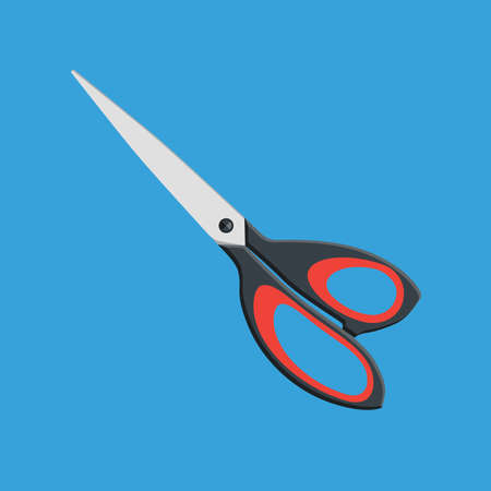 Scissors icon on blue background, vector illustration.