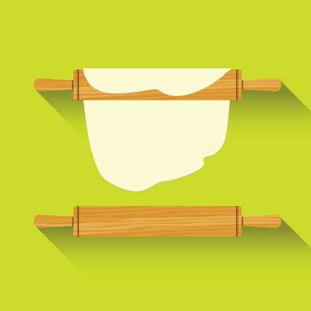 nudelholz: Flache Ikone des Rollstiftes. Vektor-Illustration. Illustration