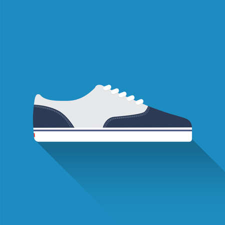 Vector drawn sport shoes, sneakers for summer. Vector stock illustration. Sport wear for men and women. Flat design. Vector illustration.
