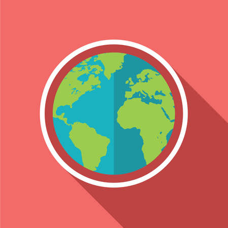 Globe icon. Flat design. Vector illustration.