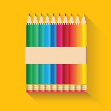 Color pencil icon flat design.