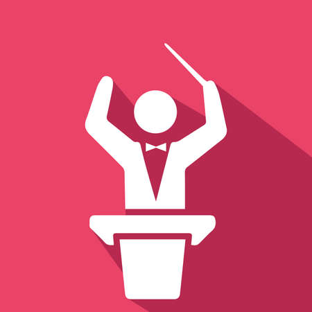 Conductor in orchestra flat design.