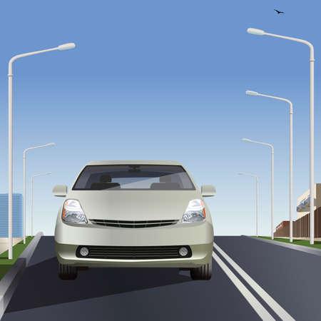 Electric car on the road. Flat design. Vector illustration. Ilustração