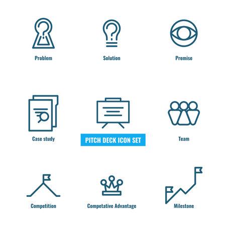 Line icon set for the pitch deck presentation. Business presentation icon set. Иллюстрация