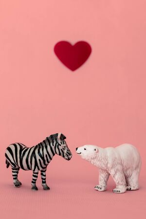 Love between the different and opposed: a bear, carnivorous from a cold habitat and a zebra, herbivorous from a hot habitat. Tolerance and respect to the people that think on a different way as we do.