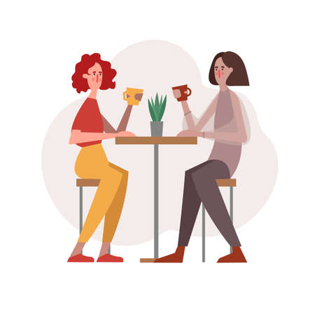 young women have coffee talking, laughing