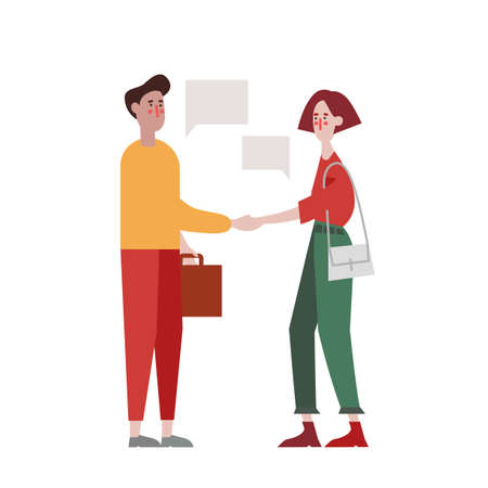 Flat design recruiting and hiring web page vector template. Young man and woman shaking hands over office working people concept for landing page, template, ui, web, mobile app. Join our team.
