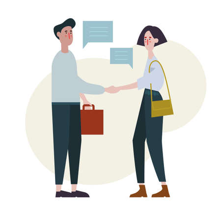 white young woman and man business partners have shaking hands vector characters 向量圖像