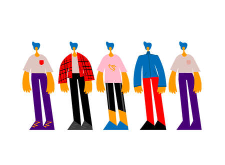 Young man clothes collection. Guy in different clothes styles. Character generator.