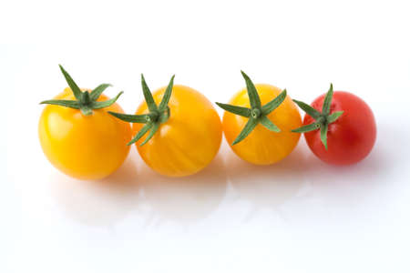 increase fruit: Yellow and red cherry tomatoes closeup. White background. (Soft focus). Stock Photo