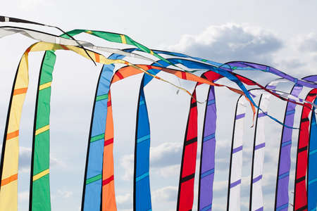 weightlessness: Colored flags waving in the wind. Abstract.