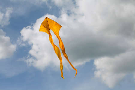 pirouette: Yellow kite flying in the cloudy sky.