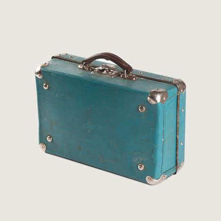 Vintage empty leather suitcase. Light-blue (turquoise). Baggage. isolated. retro vintage suitcase bag. isolated
