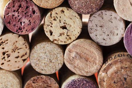 Colorful wine corks. Macro view. Closeup. Texture. photo