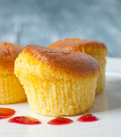 Delicious muffins on a white plate. With a red berry sauce. Gray background. (soft focus) photo
