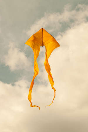 kite surfing: Summer concept: yellow kites flying in the cloudy sky. Retro style. (Toned photo.) Stock Photo