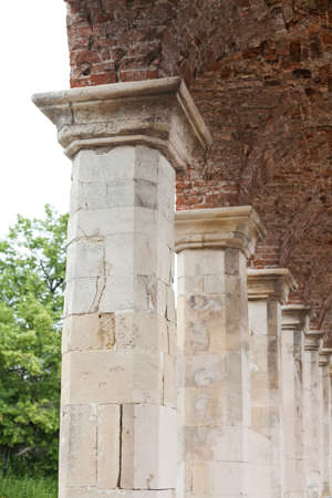 vintages: Old style columns. brick ceiling. red brickwork. Stock Photo