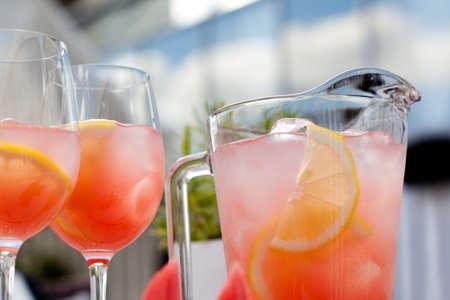 soft drinks: Watermelon juice on the glass Stock Photo