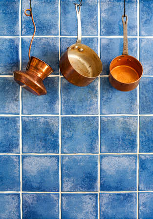 bakelite: Kitchen appliances. Hanging retro design copper kitchenware set.