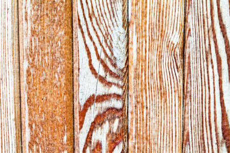 planking: Figured wooden boardwalk, wooden tiles, aged planking texture. Close up. Stock Photo