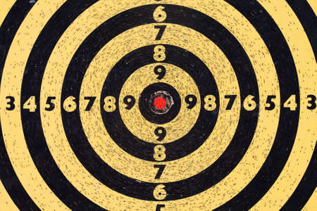 backsight: Circle, back and yellow dart board. Stock Photo