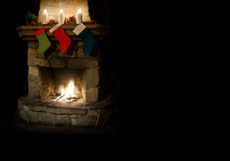stone fireplace: Chimney place with candles