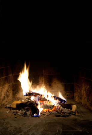 fervour: fireplace on Black background