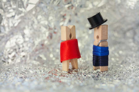 gentleman: Clothespins: abstract romantic couple.