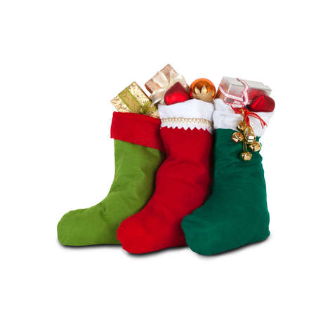 decoration: colorful xmas socks with presents. red, green, dark green color. design decoration element, isolated