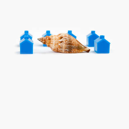 originative: Home concept. Snail house and blue buildings background. macro view Stock Photo