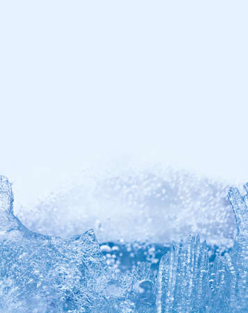 Winter landscape with frozen ice structure, icy surface. cold weather template card. closeup, copy space