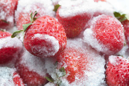 palate: Frozen strawberries closeup. Detailed cold fruit image. soft focus