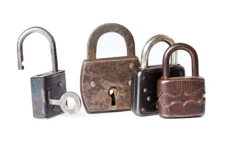 metal textures: Retro style padlocks. metal textures and pattern. one opened, three closed.