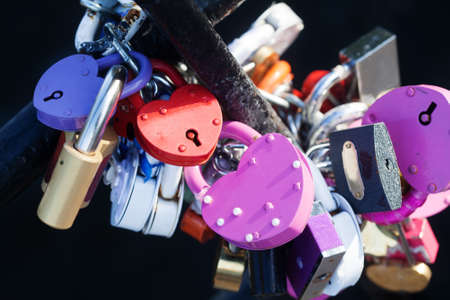 metal textures: Colored love padlocks collection. Metal textures, pattern and vintage design. love sign and romance concept