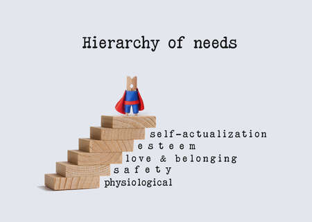 belonging: Hierarchy of needs. Superhero character on top of wooden staircase. Words: physiological safety love belonging, esteem self-actualization.