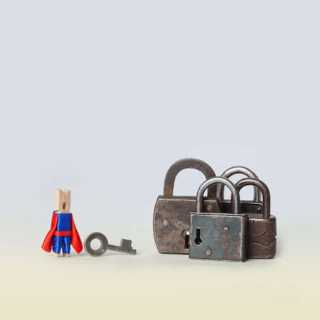 Opening concept photo. Locked padlock. Superhero opener character in blue, red suit with key and metal lock on gradient background.