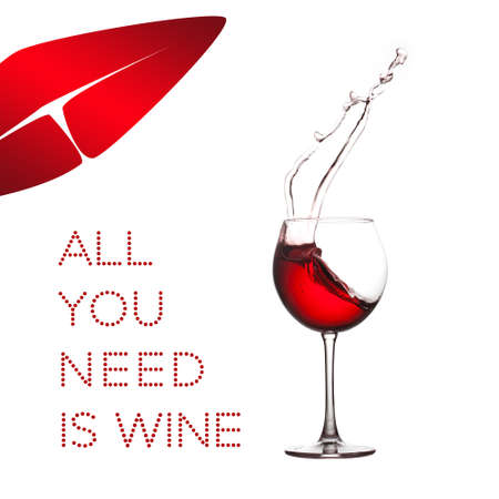 All you need is wine concept. Red wine splash lips shape on white background. Macro view splashing drink in crystal wineglass.