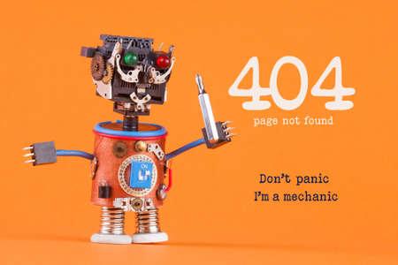 404 エラーページが見つかりません概念。Im メカニックを慌てる必要はありません。スクリュー ドライバーとロボットの便利屋。マクロ ビュー、オ