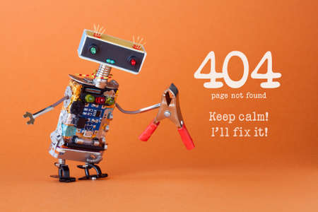 Error 404 page not found page. Keep calm Ill fix it. Friendly robotic toy with red pliers. Fun handyman character, colorful head red blue light bulbs eyes. orange background.
