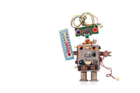 Weather forecaster robot with thermometer displaying room temperature thermal comfort level. Climate control concept photo. Copy space white background
