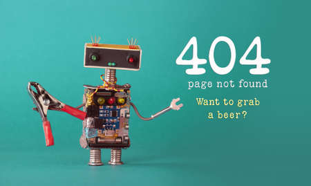 Error 404 page not found page. Friendly robot maintenance worker with red pliers, colorful head red blue light bulbs eyes. green background.