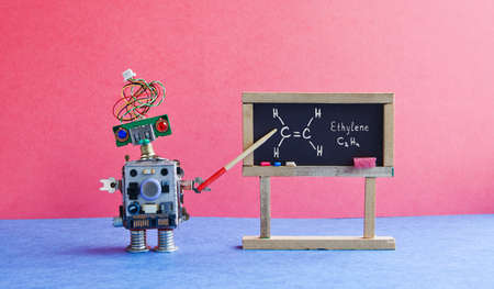 Chemistry lesson college. Robot professor explains molecular formula ethylene. Classroom interior with handwritten formula black chalkboard. Blue pink colorful background Stock fotó