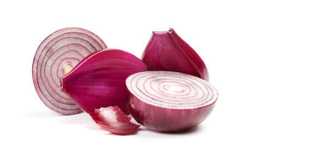 Slices red onions on white background. macro view shallow depth of field Stock Photo