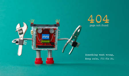 Page not found template for website. Robot toy repairman with pliers adjustable wrench, 404 error warning message Something went wrong, Keep calm I will fix it. Green background