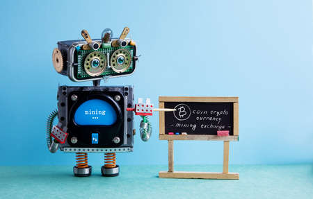 Bitcoin cryptocurrency digital money concept. Robot professor explains electronic mining cash financial system. Classroom interior with handwritten quote chalkboard. Green blue colorful background
