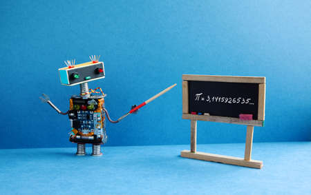 Math lesson. Robot professor explains Pi mathematical constant irrational number 3.1415926535. Friendly robot teacher with pointer, black chalkboard handwritten formula. Blue color interior classroom. Stok Fotoğraf