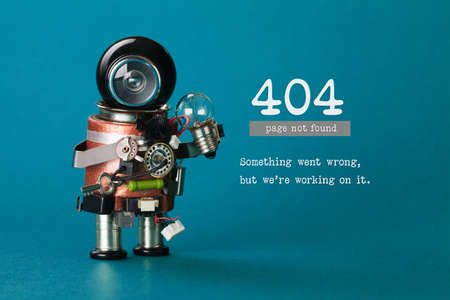 404 error web page not found. Futuristic robotic toy mechanism, black helmet head, light bulb in hand. Blue background. Text something went wrong but we are working on it